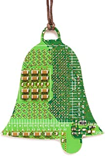 Green Bell Christmas Tree Ornament, recycled circuit board, gift for computer geeks
