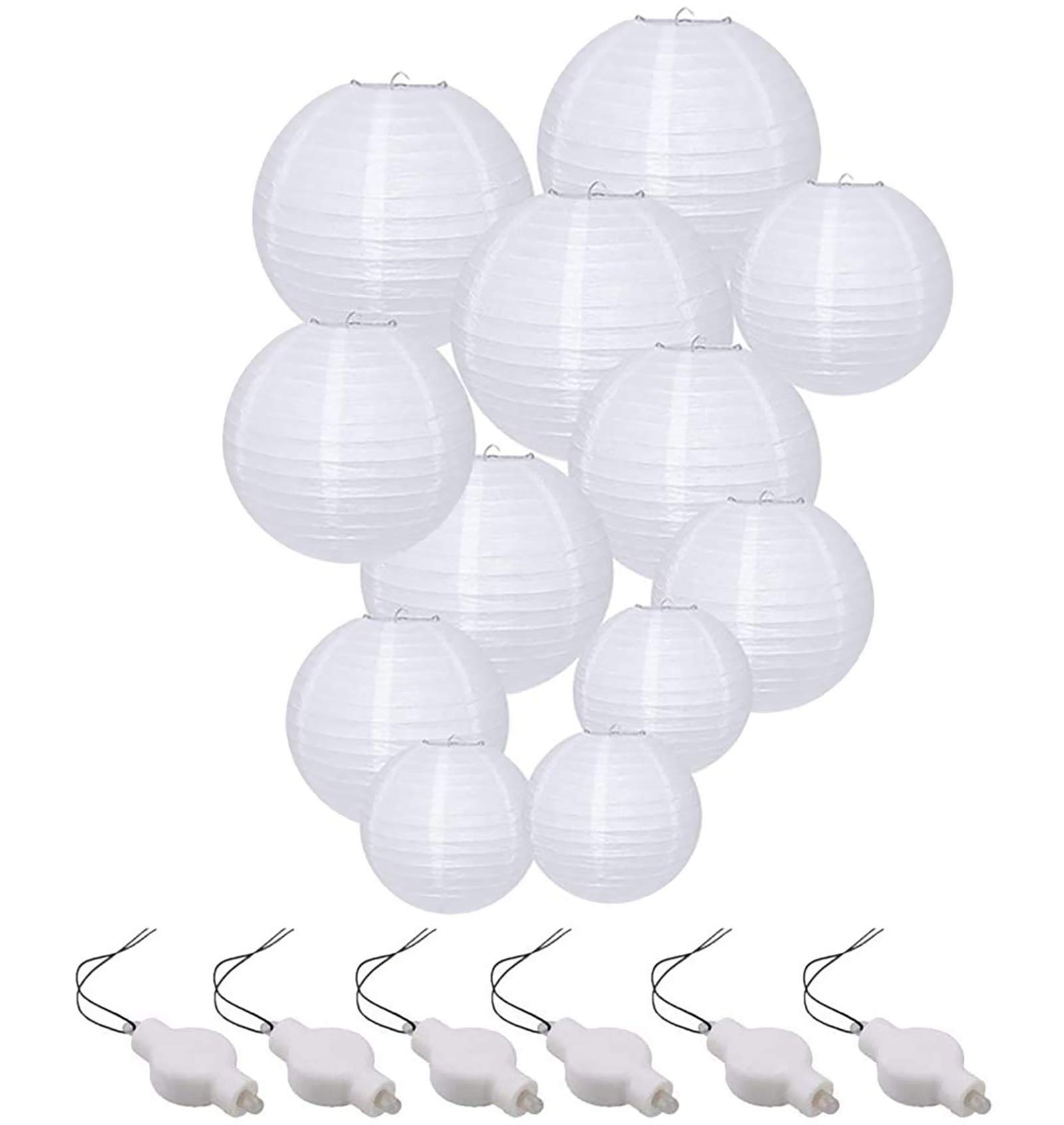 "White Round Paper Lanterns 8/"" 10/"" 12/"" 16/"" Wedding LED Decor Colors Party Light"
