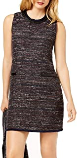 Rachel Zoe Womens Tweed Faux-Leather Trim Sheath Dress