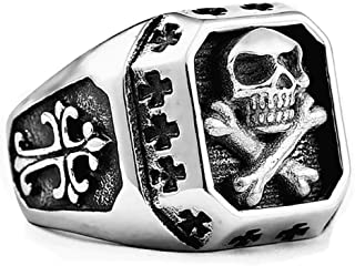 Gungneer Gothic Skull Head Finger Ring Stainless Steel Punk Biker Halloween Jewelry Men Women