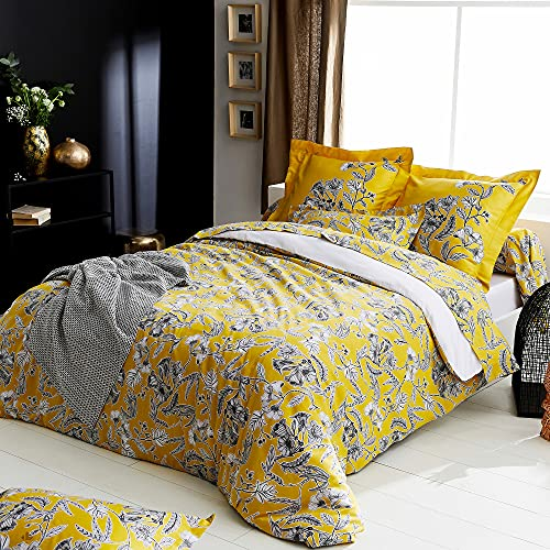Juego de cama de 200 x 200 cm, satén de algodón botánico, color amarillo