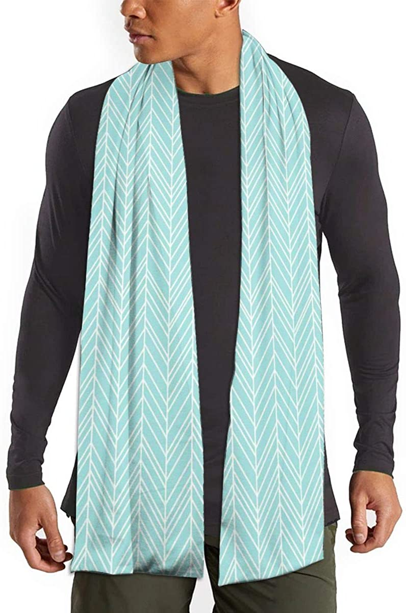 Herringbone Feathers Light Teal Scarfs – Imported Lightweight Neckwear Blanket Wrap Winter Shawl