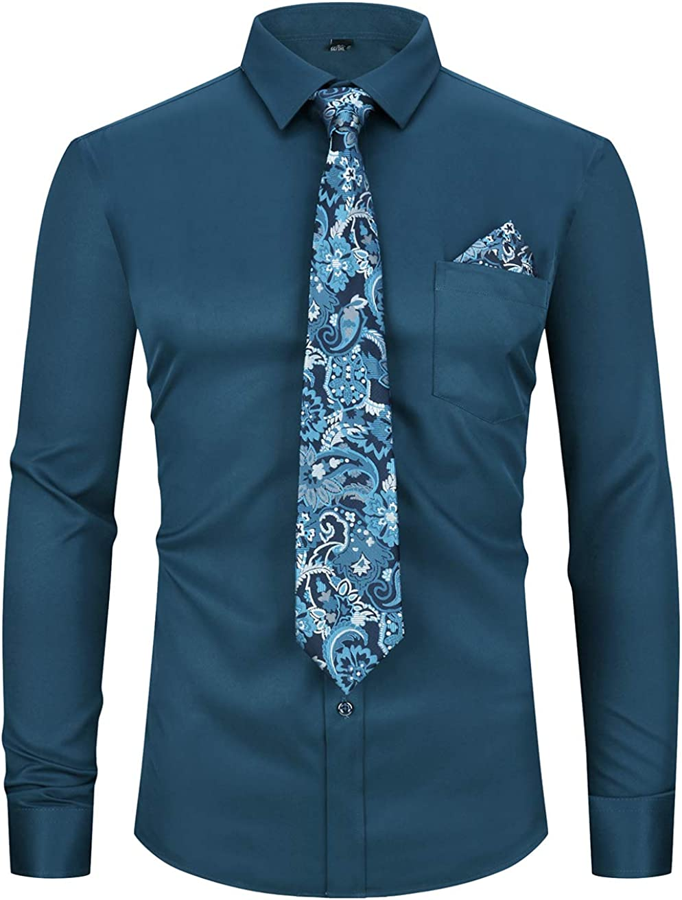 XTAPAN Men's Dress Shirt Three Piece Set Business Bright Color Slim Fit with Tie and Handkerchief Long Sleeve Lake Blue US M