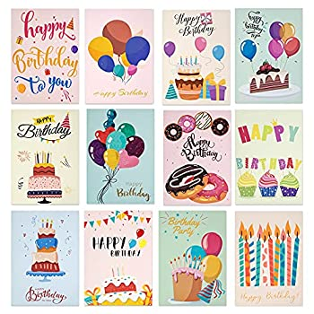 Set of 12Pcs Happy Birthday Cards 12 Different Designs Birthday Cards with Envelope and Stickers - 5 x 7 inches Birthday Greeting Cards for Kids Women Men Mom Birthday Gift