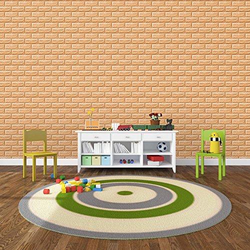 KINLO Papier Peint 3D Brique Imperméable 77 * 70 * 1CM DIY en PVC Matelassé PE Mousse Sticker Mural Adhésif Wall Bricolage Autocollant Stickers Carrelage Décor Maison Protéger Enfant (15PCS Or Foncé)