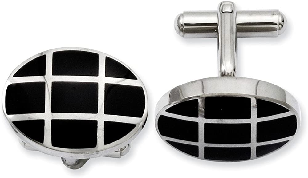 Stainless Steel Black IP-Plated Cufflinks - 15mm x 21mm