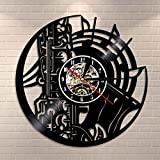 RRBOI Reloj de Pared Saxofón Música Orquesta Sonido Sinfonía Latón Reloj de Registro de Vinilo Musical Arte de la Pared Decoración para el hogar Reloj de Pared Jazz Música Regalo