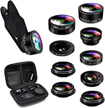 Cell Phone Camera Lens, 9 in 1 Camera Lens Kit Macro Lens + 198° Fisheye Lens + Wide Angle Lens + CPL + Kaleidoscope + Starburst Lens Compatible iPhone X/8/7/7 Plus/6s/6s & Samsung & Smartphones