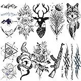 LAROI 10 Hojas Etiqueta Engomada Tatuaje Temporal Ciervo Zor