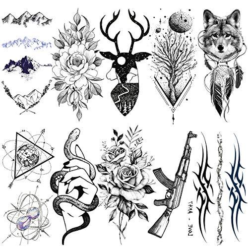LAROI 10 Fogli Autoadesivo Tatuaggio Temporaneo Adulti Cervo Volpe Nero Pianeti Fiore Montagna Geometria Falso Serpente Mani Uomo Catene Gioielli Ak Pistola Tatuaggi Temporanei Donna Bracciali Tatoos