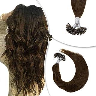 Hetto U Tip Extensions Real Human Hair 100% Brazilian Hair 14Inch Pre Bonded Tip Hair Extensions 1G/Strand 50Gram Nail Tip Fusion Hair for Women #4 Dark Brown