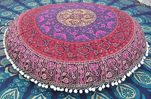 Jaipur Traditionnel Coussin de Sol Rond, Mandala Couvre-lit décoratif taies d'oreiller 81,3 cm Pouf Ottoman, extérieur Housse de Coussin Indien, Grand Bohemian Couvertures d'oreiller avec Insert