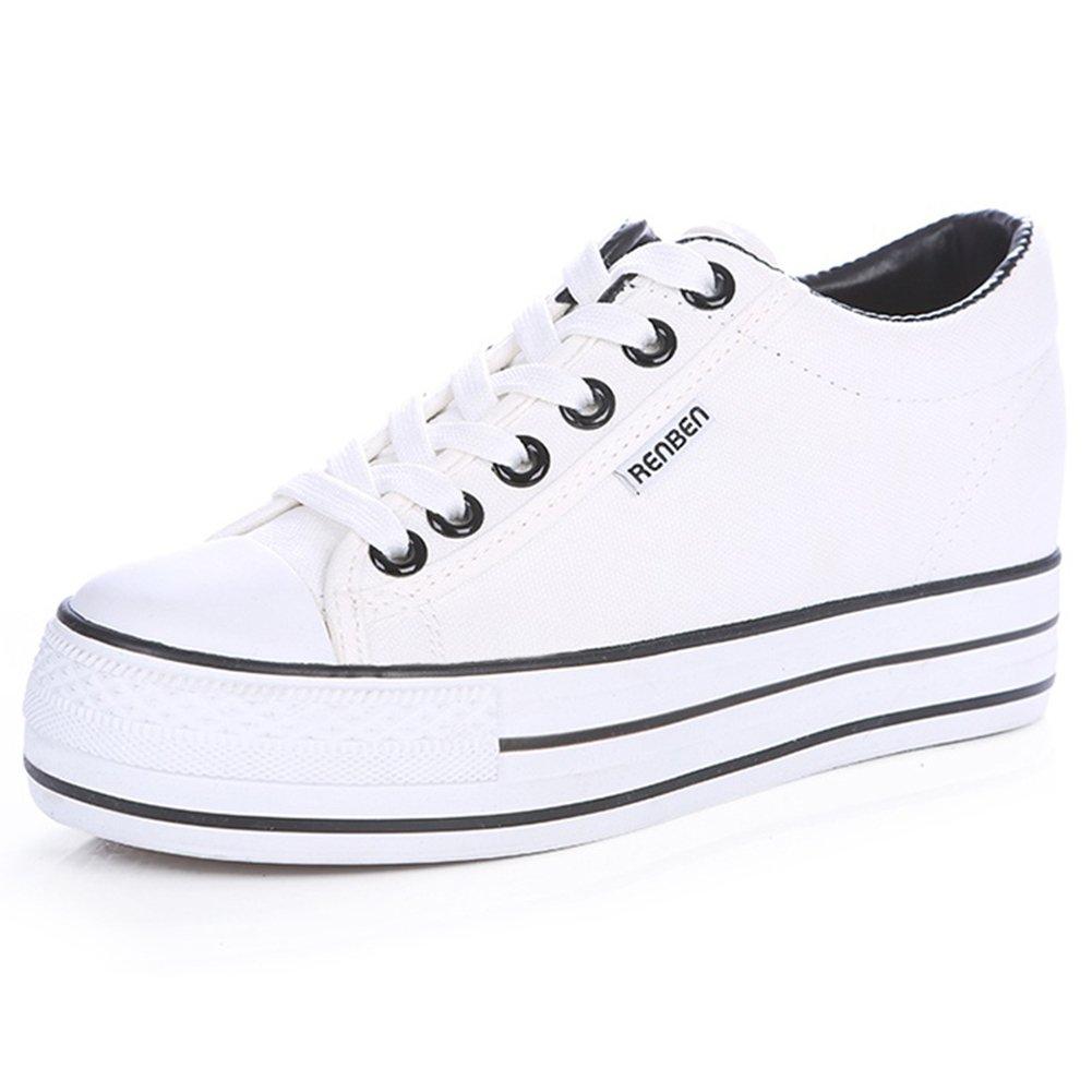 Filles Femmes Classique Plateforme Talon Compensé Bas Baskets en Toile Sneakers Mode Lacer Chaussures Espadrille