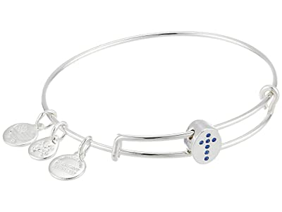 Alex and Ani Pave Cross Symbol Bead Bangle Bracelet (Shiny Silver) Bracelet