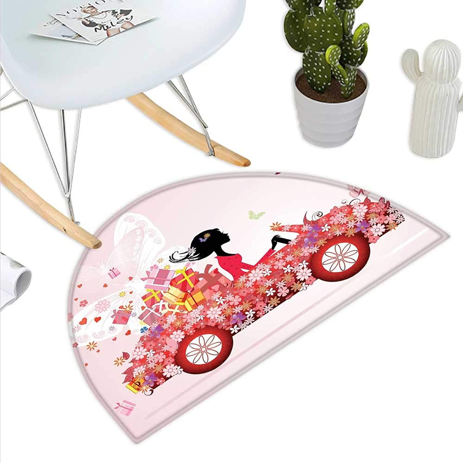 Cars Semicircle Doormat Girl on a Car with Floral Present Boxes Butterflies Daisies Little Hearts Halfmoon doormats H 43.3  xD 64.9  Pink Dark Coral Black
