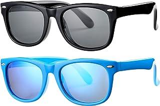 2 Pack Kids Polarized Sunglasses TPEE Unbreakable...