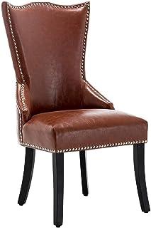 Juego de sillas de Comedor de 1 Silla de Cocina Vintage tapizada en Cuero sintético marrón con Tachuelas con Respaldo Alto y Patas de Madera para Dormitorio de Restaurante