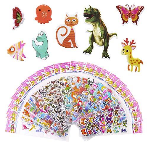 Meafeng Tier Aufkleber für Kinder 3D Relief Aufkleber für Jungen and Mädchen 52 Verschiedene Blätter Farbig Aufkleber Pack über 1100, inkl. Tier Dinosaurier Schmetterling Fisch usw