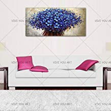 SANSNMI 100% Handmade Blooming Tree Landscape Oil Painting Heavy Thick Palette Knife Blue Flower Painting On Canvas Home W...