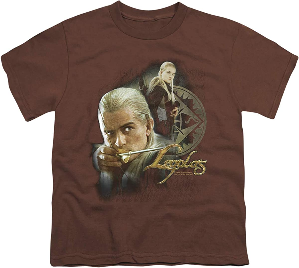 Lord of The Rings Legolas Unisex Youth T Shirt, Coffee, Small