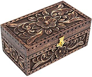 storeindya Christmas Day Gifts Jewelry Trinket Box Wooden Small Square Keepsake Box Handcrafted Fine Celtic Inlaid Multipurpose Organizer (Old Jewelry Box)