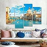 HOMEDCR Wandbilder Aktuelle Leinwand Gemälde Himmelblau Gebäude 4 Stück Kunstwerk Handgemalte Ölbilder Home Wohnzimmer Eingangsdekoration