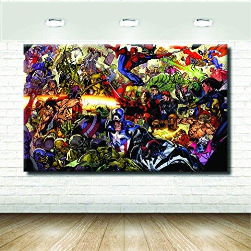 stampepersonalizzate.com - Auf Leinwand drucken - Format 128X80 Nur Leinwand - Druck in Fotoqualität - Gemälde und Cartoons - Mix Avengers