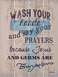 Rustic Pallet Art Wash Your Hands and Say Your Prayers Wooden Bathroom Wall Hanging, 9