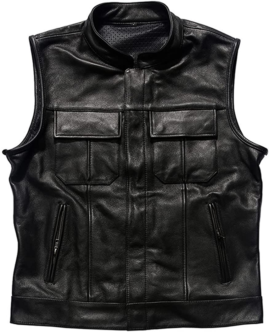 DFLYHLH Plus Size Motorcycle Biker Vest Outdoor Leather Men New Shipping Free Shipping Daily bargain sale for