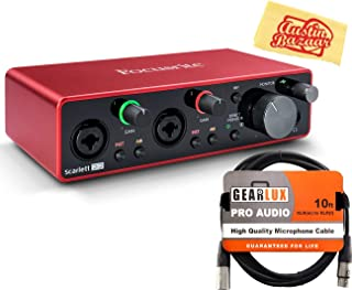 Focusrite Scarlett 2i2 3rd Gen 2-in, 2-out USB Audio Interface Bundle with XLR Cable and Austin Bazaar Polishing Cloth