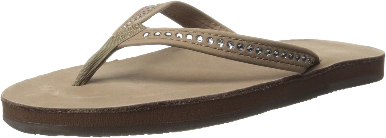 Rainbow Sandals Women's Single Layer, Narrow Strap, White Crystal