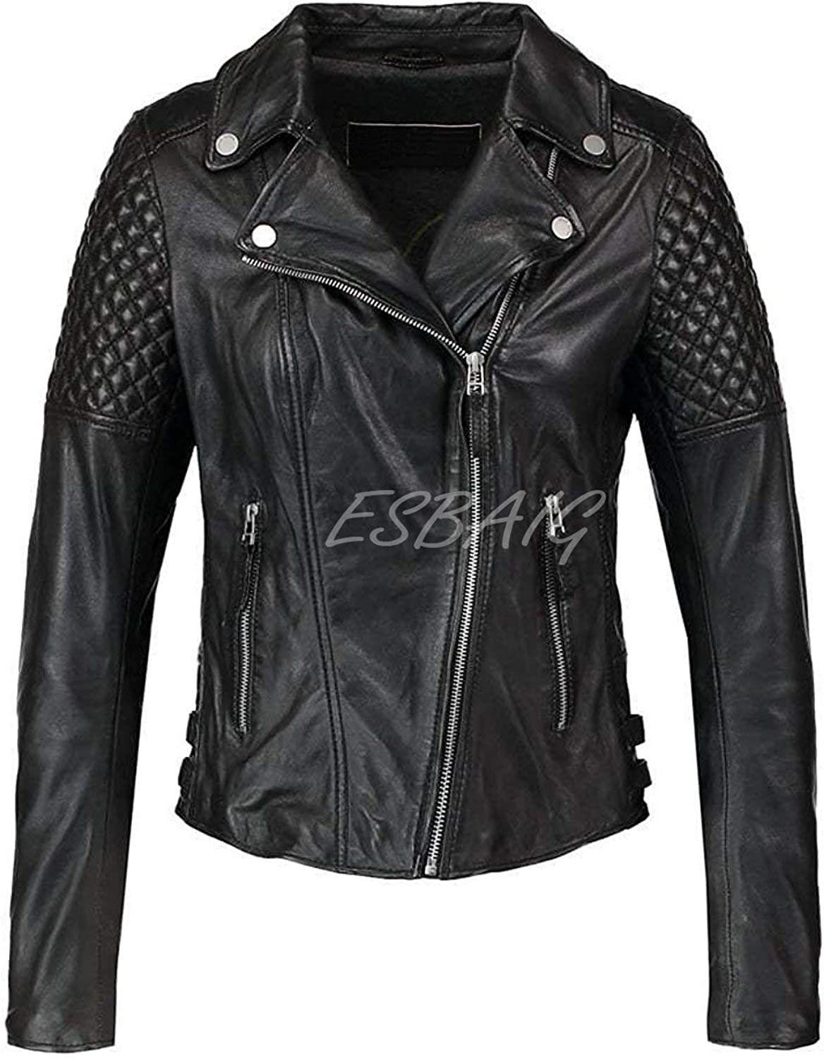 ESBAIG Womens Leather Jackets Stylish Motorcycle Bomber Biker Real Lambskin Leather Jacket for Women 533