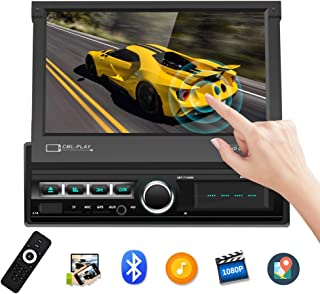 Single Din Car Stereo Navigation Car Radio 7 Motorized Touch Screen Bluetooth Head Unit Support GPS/FM Radio/AUX-in/USB/SD/Android iOS Mirror Link + 12 IR Car Backup Camera + Wireless Remote