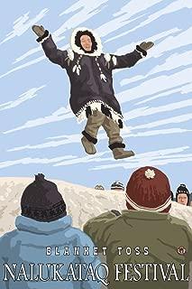 Alaska Blanket Toss - Nalukataq Festival, Alaska (24x36 Fine Art Giclee Gallery Print, Home Wall Decor Artwork Poster)