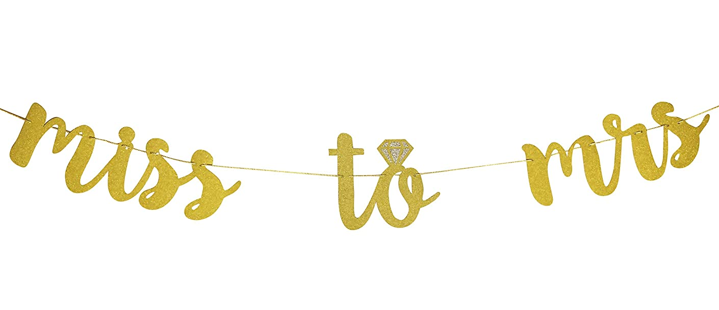 Miss to Mrs Gold Glitter Cursive Banner with Diamond Ring Decoration | bachelorette party bridal shower engagement hen party wedding | by CC Party Co.