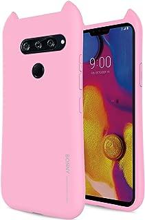 Qoosan LG V40 ThinQ Case, LG V40 Case 3D Design Ears Soft Rubber TPU Jelly for LG V40 ThinQ (2018) Pink LGV40-3DEARS-PNK