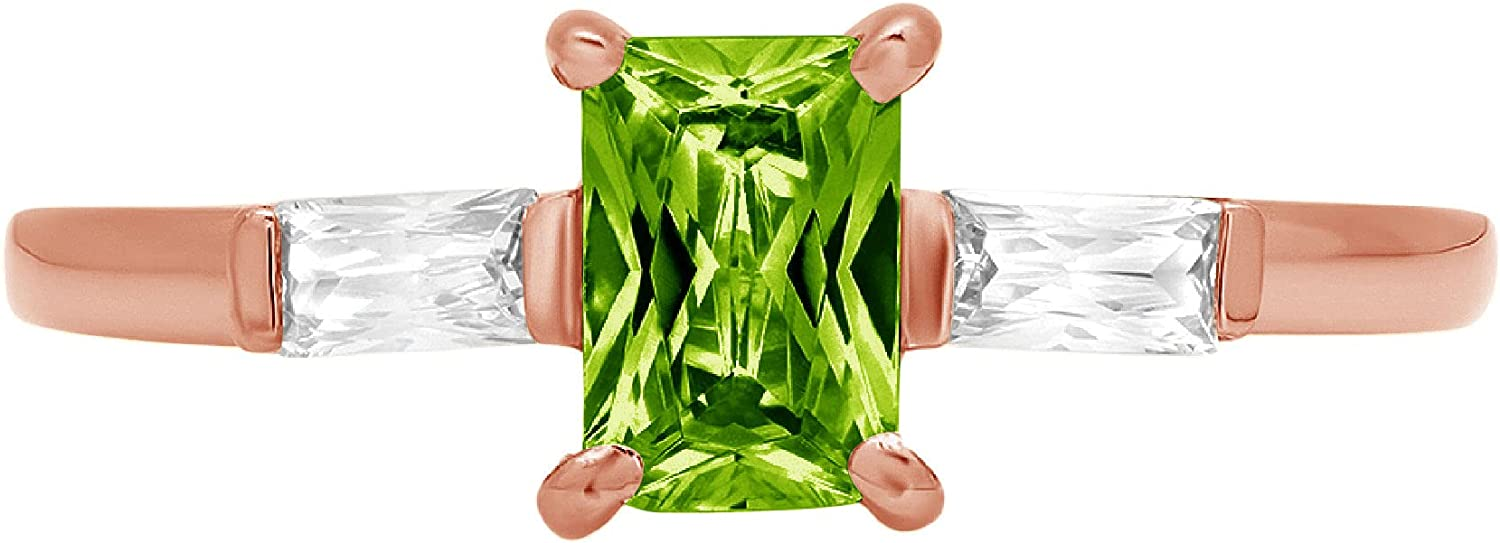 0.99ct Emerald Baguette cut 3 stone Solitaire with Accent Genuine Natural Vivid Green Peridot Gemstone Ideal VVS1 Engagement Promise Statement Anniversary Bridal Wedding ring 14k Pink Rose Gold