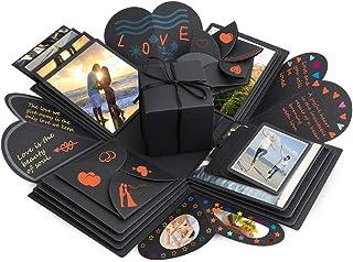 Boîte surprise Komake pour scrapbooking, cadeau DIY et album photo pour Noël, Saint Valentin, anniversaire ou mariage (Noir)