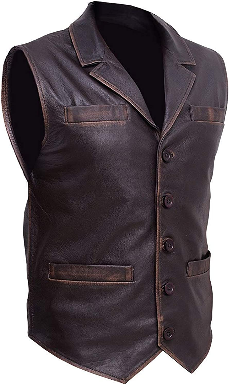 Trendhoop Men Brown Cow Hide Leather Distressed Vest