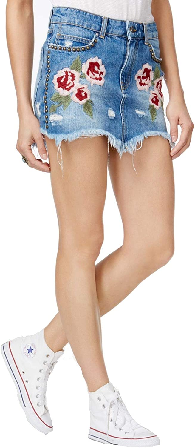 Free People Womens Embroidered Denim Skirt