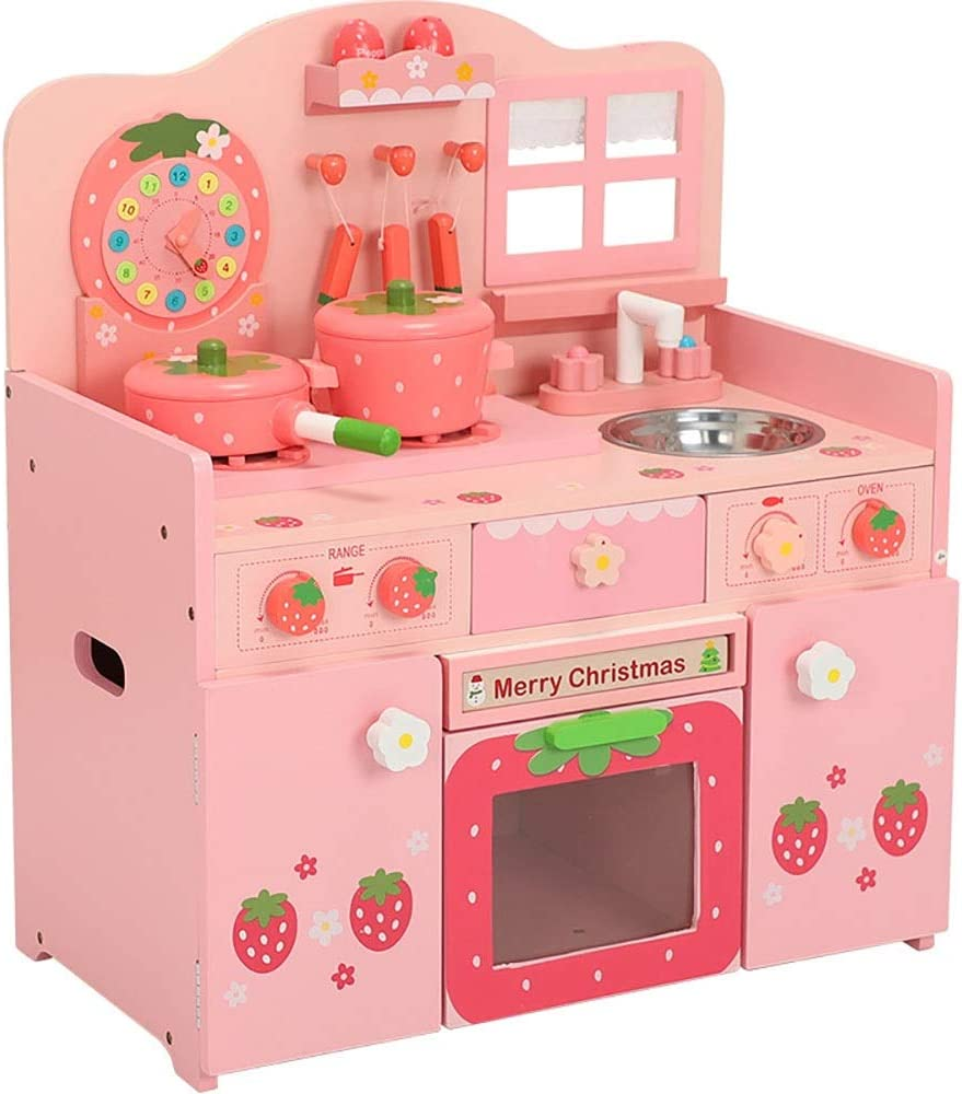 Play Kitchen Toys Deluxe Large Pink Strawberry Kids Pretend Kitchen Wooden Children S Cooking Role Play Toys Set Cooker Imagination Game Gift Gift For Toddlers Baby Girls Boys Amazon Ca Toys Games