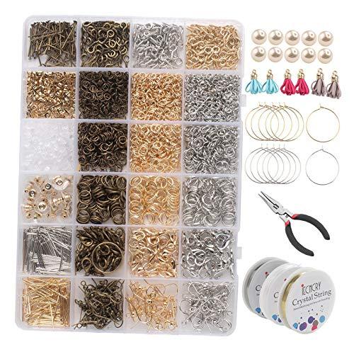 oshhni Kit de Fabricación de Suministros para Manualidades con Gancho para Pendientes de 995 Piezas