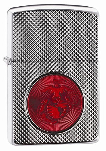 Zippo Pocket Lighter Zippo USMC Red Silver Logo Armor High Polish Pocket Lighter, Chrome by Zippo