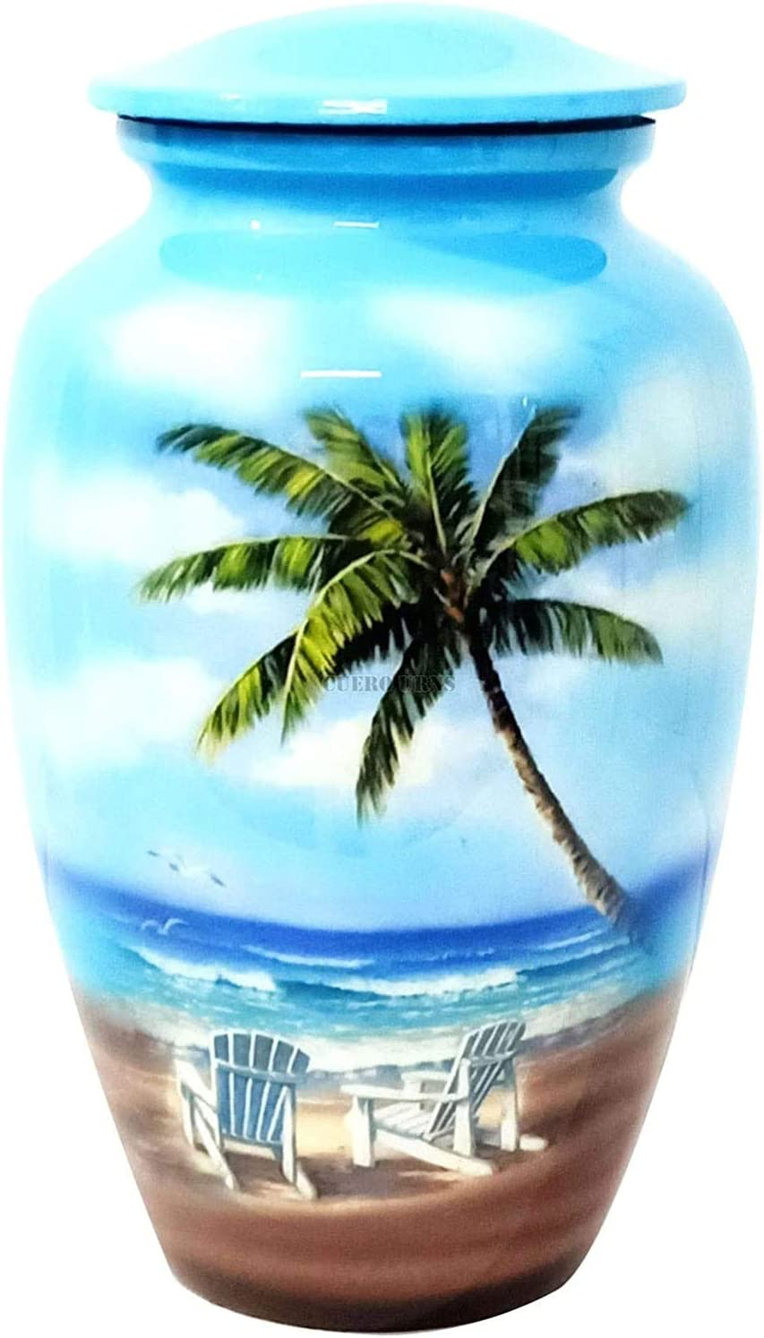 hlc URNS – Lovely Beach Blue Cremation Human for Cheap mail order specialty store New arrival Urn Ashes