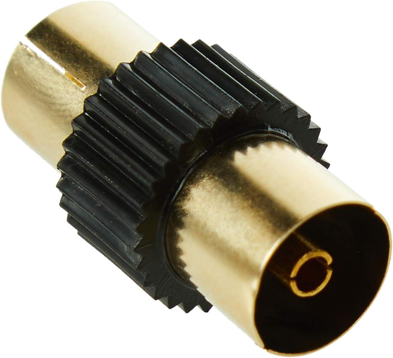 CDL Micro - Cable coaxial para TV (conectores macho, adaptador para conectores hembra, 3 m), negro