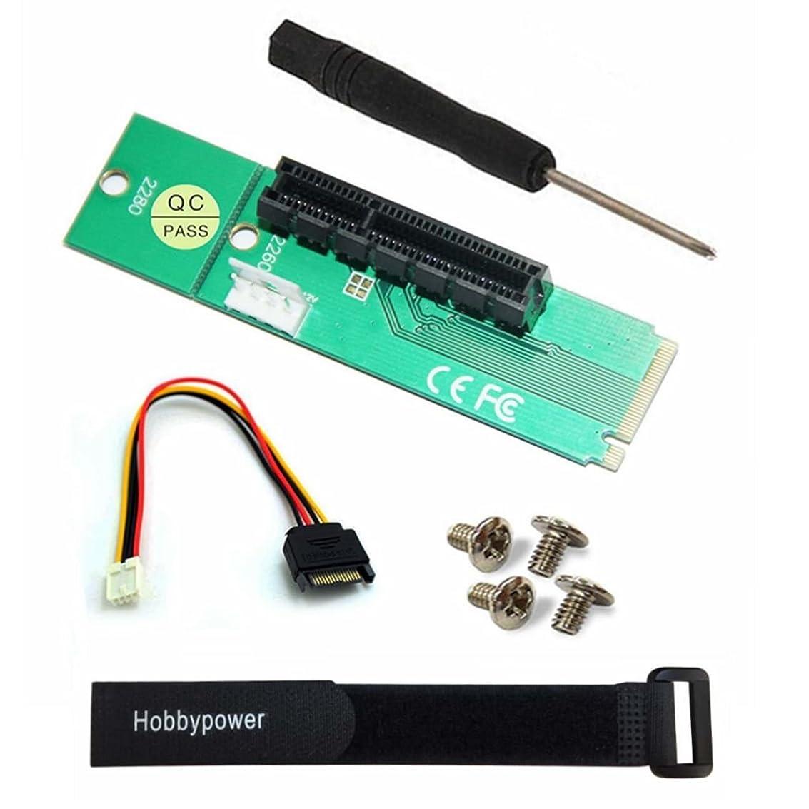市の花宅配便厚いHobbypower PCI - E 1?X / 4?xカードto NGFF M。2?m Key PCIeスロットアダプタコンバータアダプターforデスクトップまたはノートパソコン+ 1?Hobbypowerストラップ