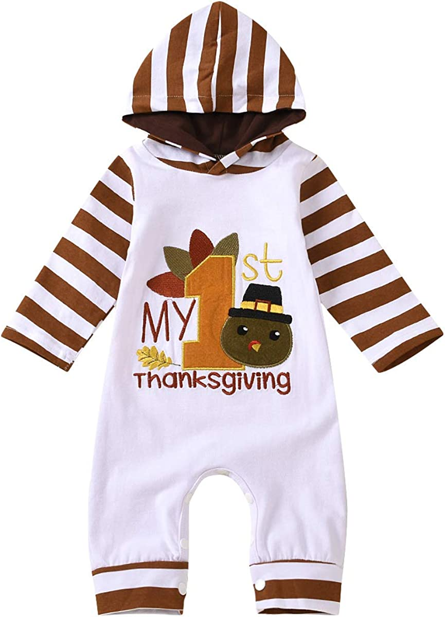 Sale item My First Thanksgiving Baby Max 53% OFF Girl Clothes Embroidery Boy Newborn S