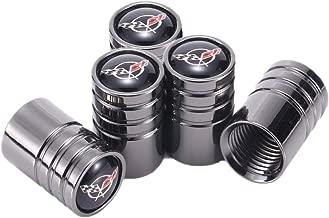 TK-KLZ 5Pcs Chrome Car Tire Valve Stem Caps for Chevrolet Corvette C5 Decorative Accessory