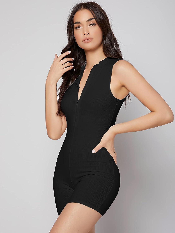 SheIn Women's Zipper Front Sleeveless Skinny Lounge Pajamas Rompers Sleepwear