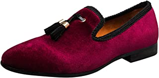Chaussure Homme Velours Broderie Noble Mocassins Slip-on Vintage Gland Mariage Casual Chaussure Loafers Pantoufle Noir/Rou...